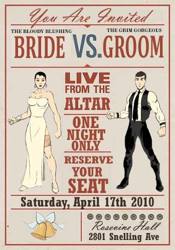 Vintage boxing poster inspired wedding invitations :)