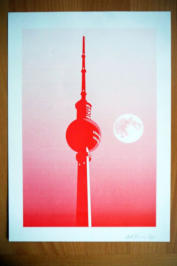 Amazing Berlin Moon A Risograph Print by cheism on Etsy