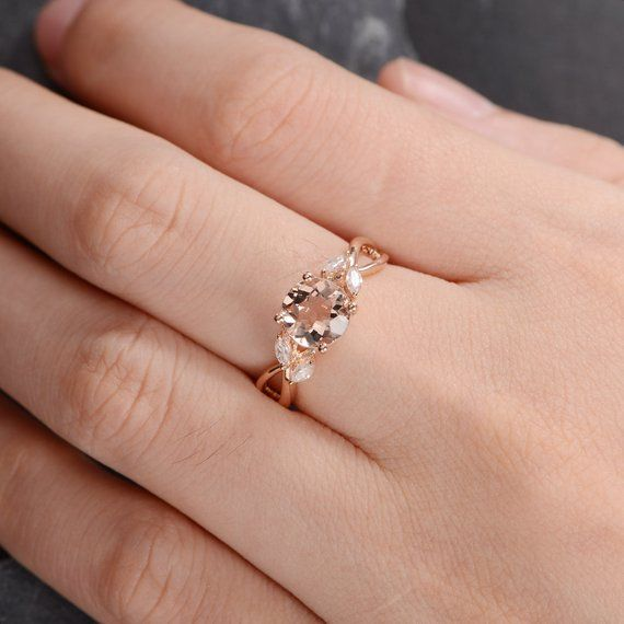 Rose Gold Engagement Ring Morganite Ring Marquise Moissanite Leaf Vine Floral Flower Infinity Split