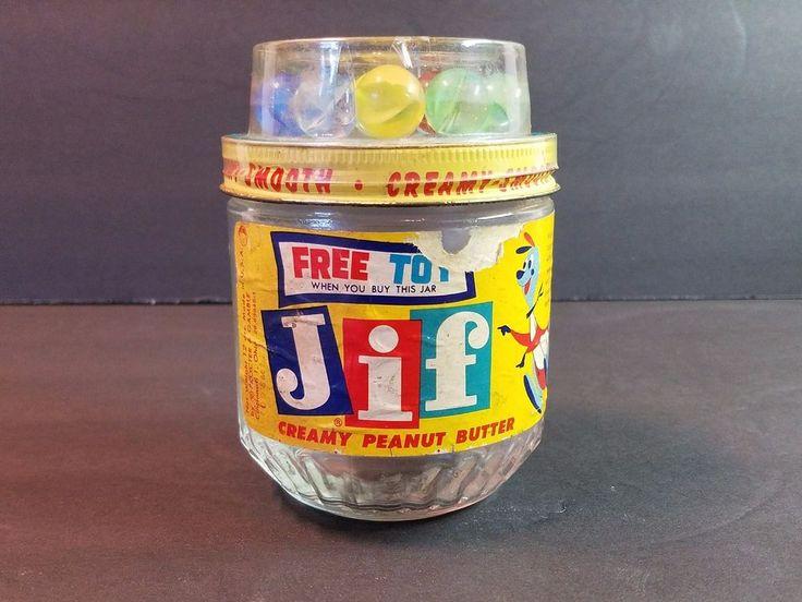 Vtg 1950s JIF Peanut Butter Jar Marbles Catseye Toy Jifaroo Kangaroo Label 12oz #JIF