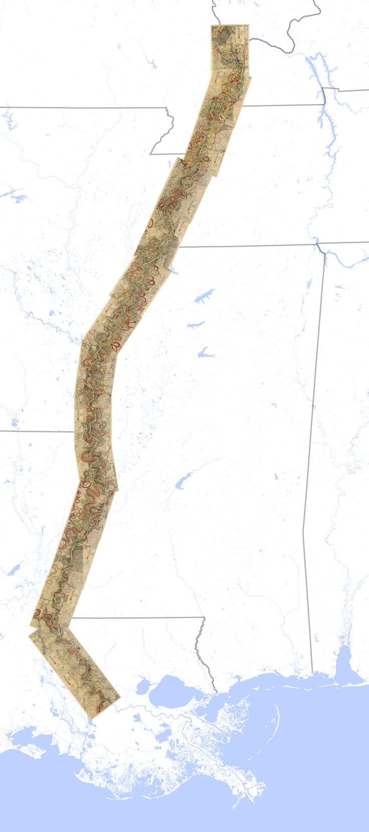Fisk's maps of the ghosts of the Mississippi -  Full