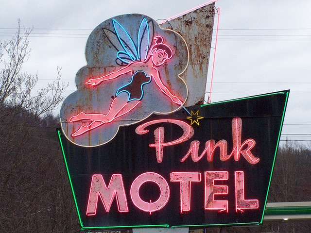 Magical Fairy Graces Old Neon Sign at Cherokee, NC Motel by Casino Jones, via Flickr
