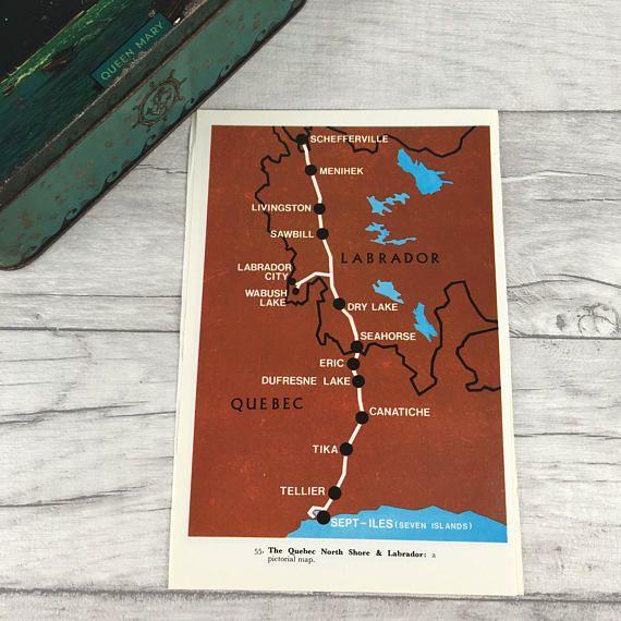 Quebec vintage map canada map Labrador canada railway