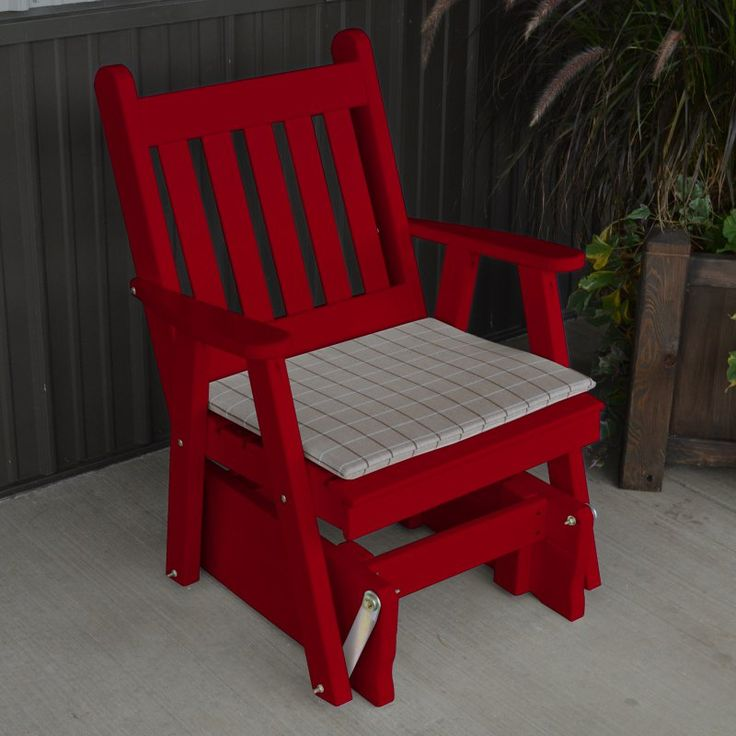 A & L Furniture Yellow Pine Traditional English 2 ft. Outdoor Glider Chair Tractor Red - 654-TRP TRACTOR RED