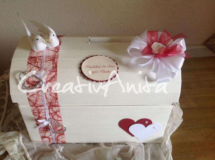 Briefbox - Truhe zur Hochzeit in Bordeaux-Creme mit Sizoflor