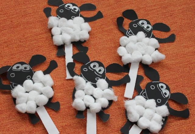 Craft idea- Have the kids glue cotton balls on to make their own sheep!