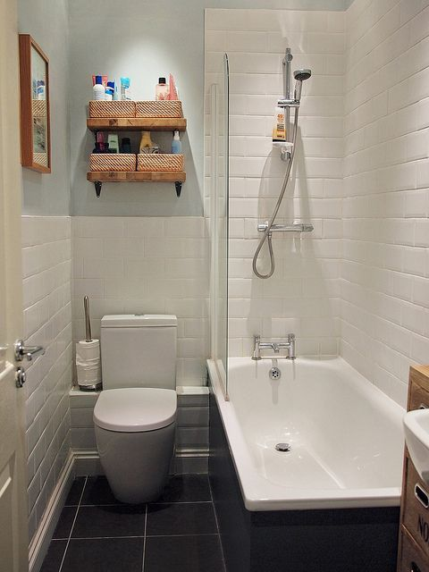 Beautiful Bathroom by What Katie Does, via Flickr - love the shelves and beautiful white tiles