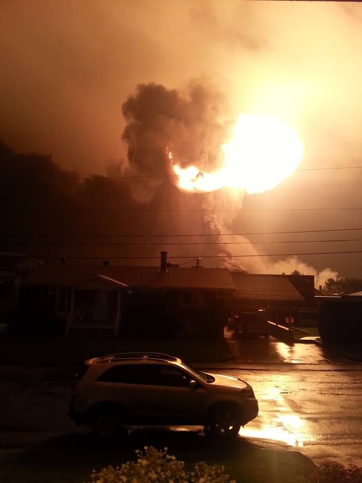 A picture taken from my parent's house last night. A train exploded in my home town...