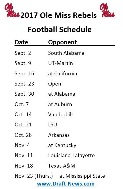 Printable 2017 Ole Miss Rebels Football Schedule