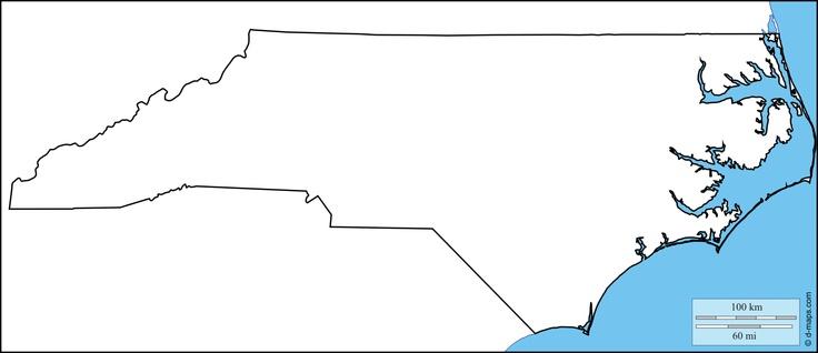 North Carolina: free map, free blank map, free outline map, free base map : coasts, limits