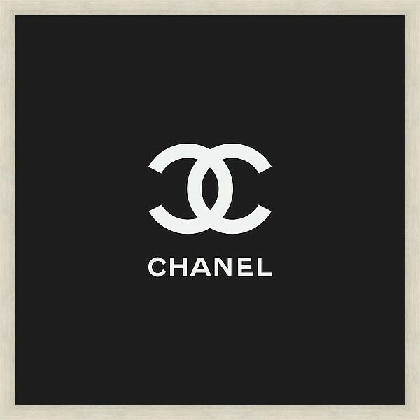 Chanel logo - minimal black and white print with a classy silver frame. Ships worldwide!!