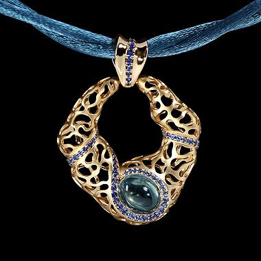 Mousson atelier, collection Coral Reef, pendant, Yellow gold 750, London topaz 2,94 ct., Sapphires