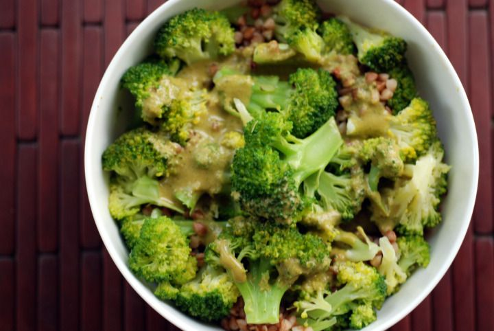 Broccoli and Kasha Bowl with an Onion-Miso-Dill Dressing