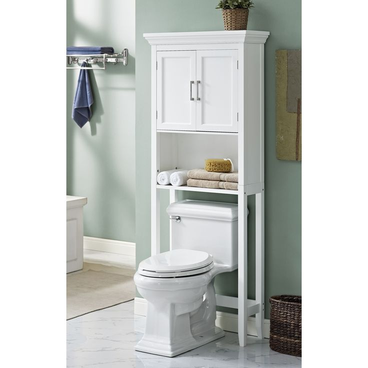 The Hayes space saver cabinet makes great use of the wall space above your toilet. Its two door top section is a perfect place for those bathroom items you don't want out on the counter. An open shelf below accommodates hand towels and small accessories.