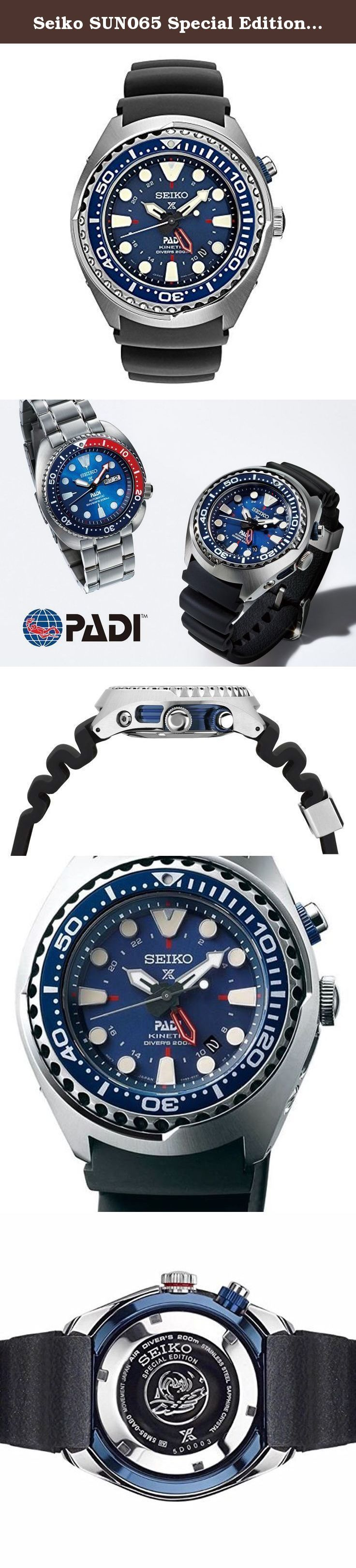 Seiko SUN065 Special Edition Padi Kinetic GMT Diver Watch by Seiko Watches. PADI PROSPEX COLLECTION: This Watch is powered by light energy, environmentally friendly, and has a six-month power reserve once fully charged. It has a power reserve indicator function, GMT indicator, and one-way rotating elapsed time bezel. The watch has a date calendar, lumibrite hands and markers, and a screw down crown, pusher, and case back. The watch has a Movement caliber of 5m85.