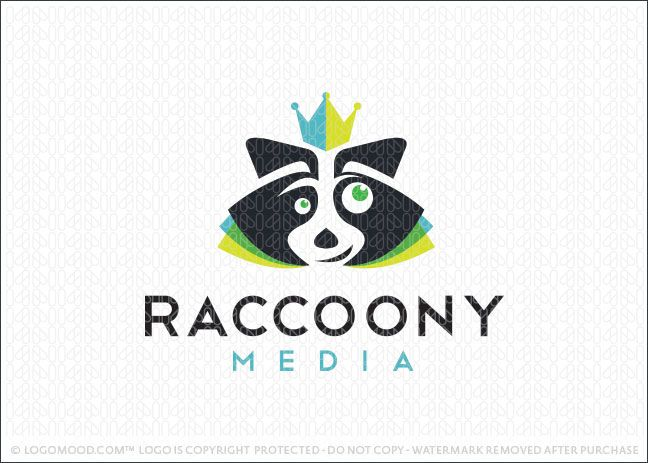 Logo for sale: Fun and expressive raccoon character wearing a royal crown. The raccoon is designed in a clean and simple style with overlapping color sections around the raccoon's face that create the impression of the whiskers.