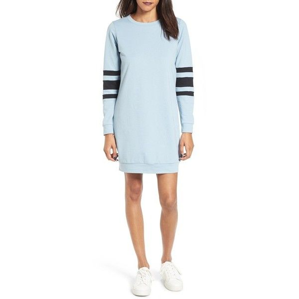 Women's Fire Sweatshirt Dress ($45) ❤ liked on Polyvore featuring dresses, light blue, fire dress, blue dress, blue party dress, light blue dress and going out dresses