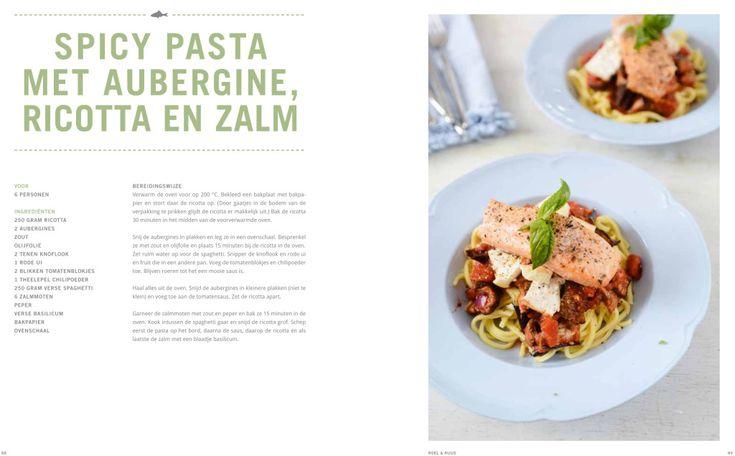 spicy pasta met aubergine, ricotta en zalm uit het boek Yvestown in de keuken. Print het recept uit en maak zelf zo'n lekkere pasta. Smakelijk!