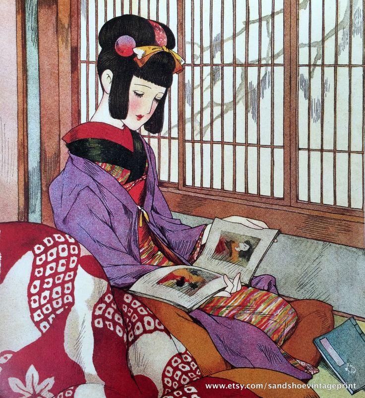 1939 JUNICHI NAKAHARA Big Eyed Girl in KIMONO Reading Print Perfect for Framing by sandshoevintageprint on Etsy