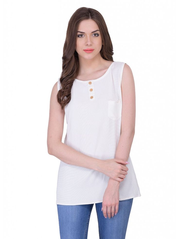 White Casual Georgette Solid Sleeveless Top