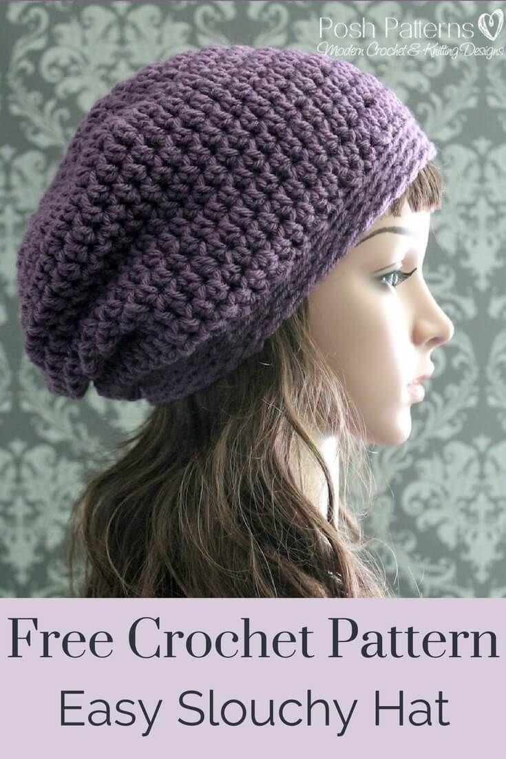 Free Crochet Slouchy Hat Pattern Patterns Pinterest Crochet