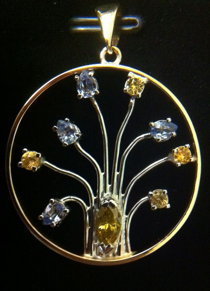 Sapphire tree pendant