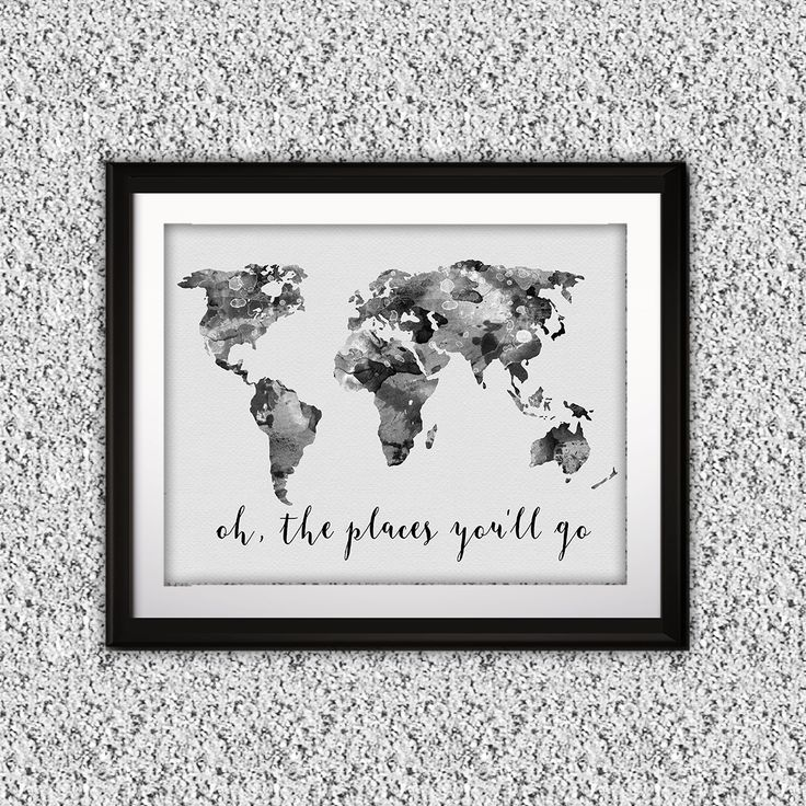 World Map Poster Watercolor painting Wall Art Print Instant Download Home Decor