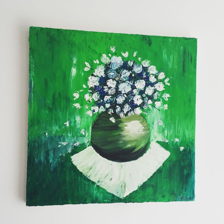 Original oil painting/ Palette knife Blue White Colorful Flowers Textured/ Wall decor on canvas/ Modern gift by AllexaArt on Etsy https://www.etsy.com/listing/252806741/original-oil-painting-palette-knife-blue