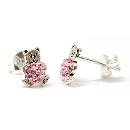 TOC Girls Sterling Silver Pink Austrian Crystals Teddy Bear Stud Earrings