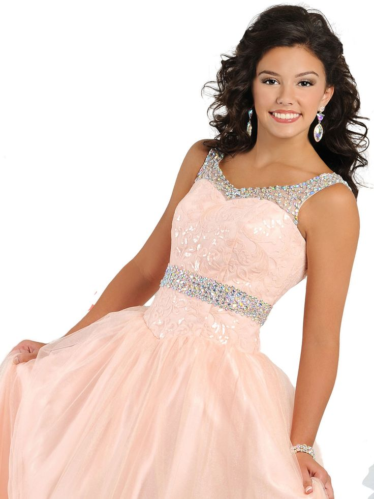 You will look radiant on stage in this Ritzee Tweens Teen pageant dress. This Ritzee Tweens Tween pageant gown T822 features a V-neckline with shoulder straps, sweetheart fitted bodice, and beaded waistband. A flowing A-line skirt completes this Ritzee Tweens Teen pageant dress. The cutout open back adds a perfect finishing touch to this Ritzee Tweens Teen pageant gown. Features: Cutout Back Silhouette: A-line  Neckline: V-neck  Fabric: Sequin Lace/Shiny Tulle Sizes Available: 1 through 7…