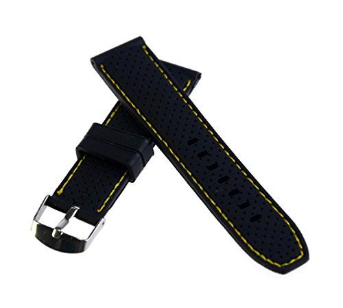 22mm Black and Yellow Genuine Silicone Watch Band Strap Waterproof Sport For Fossil Watch repaired. High quality Genuine Silicone,Stainless steel polished silvery Buckle, ROHS, REACH Compliance,. Great for divers or active wearer and Smooth reverse side of the band. Band wide:22mm, Thickness: around 4.0mm. Length(not including the buckle): around 118mm long side / around 82mm short side. Including spring bars, you can use originally or new spring bars to compare the band and installed on…