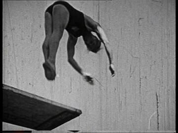 Richard Degener, Front Somersault with 180 twist, Fancy Diving, Olympia-Schwimmstadion Berlin, Olympic Stadium (Berlin), Olympic Games 1936, Summer Olympics, Public Swimming Pool, Competition (Event), 3rd Reich, Jumping, Professional (Sports), Historical Footage, Man (Human), Adult, Day, Stock Footage,