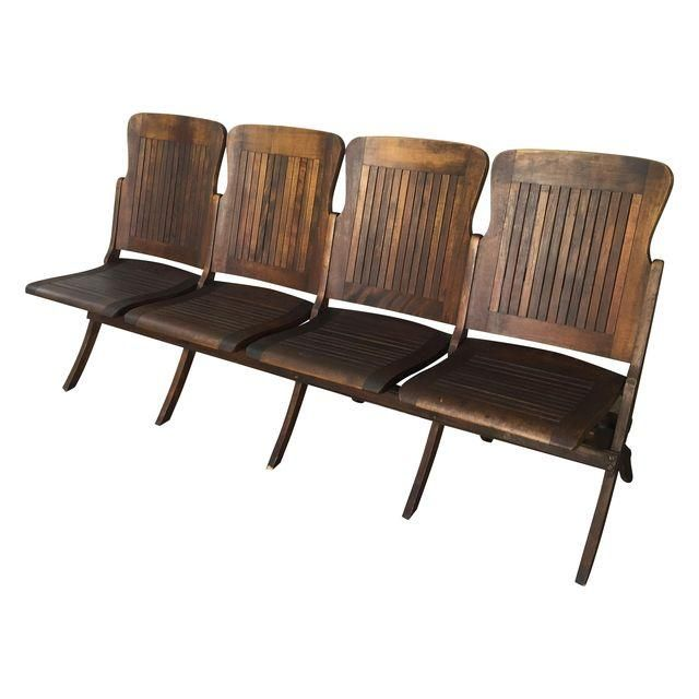 Theater Train Station 4 Seat Folding Bench Vintage