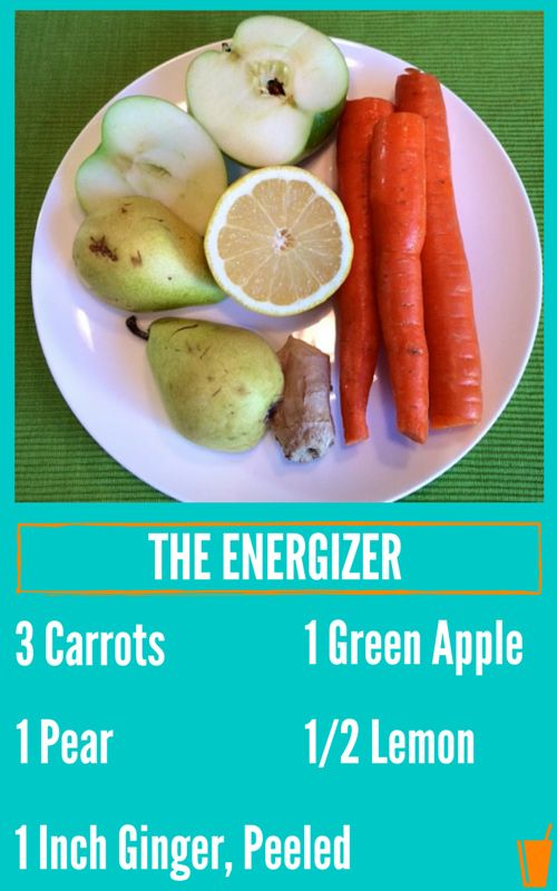 The Energizer Healthy Juice Recipe with carrots, lemon, pears, and ginger. #Chrisfreytag #juicing #Healthy
