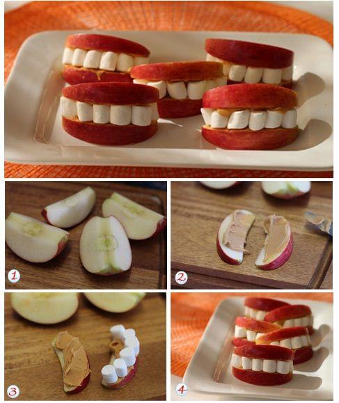 Labios de manzana, solo necesitamos manzanas-crema de maní y unos marshmallow.