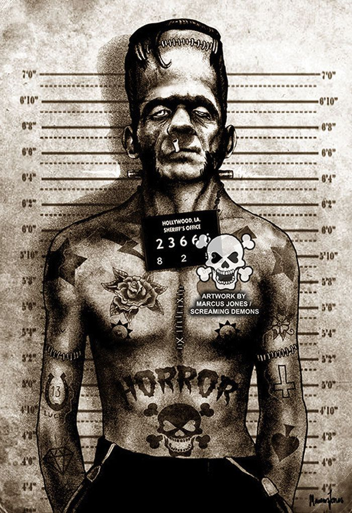 Purple Leopard Boutique - Franky Mugshot by Marcus Jones Screaming Demons Frankenstein Tattoo Canvas Giclee Art Print , $70.00 (http://www.purpleleopardboutique.com/franky-mugshot-by-marcus-jones-screaming-demons-frankenstein-tattoo-canvas-giclee-art-print/)