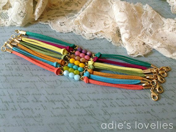 Faux Suede & Czech Glass Faceted Bead Bracelets  by adieslovelies, $9.50