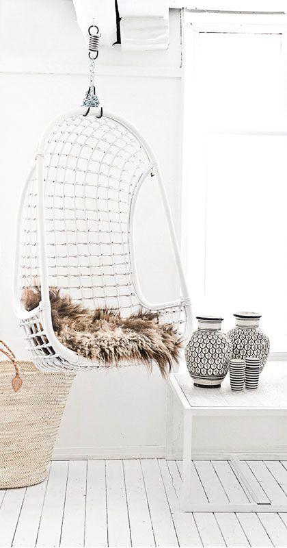 = hanging chair and fur = Paulina Arcklin