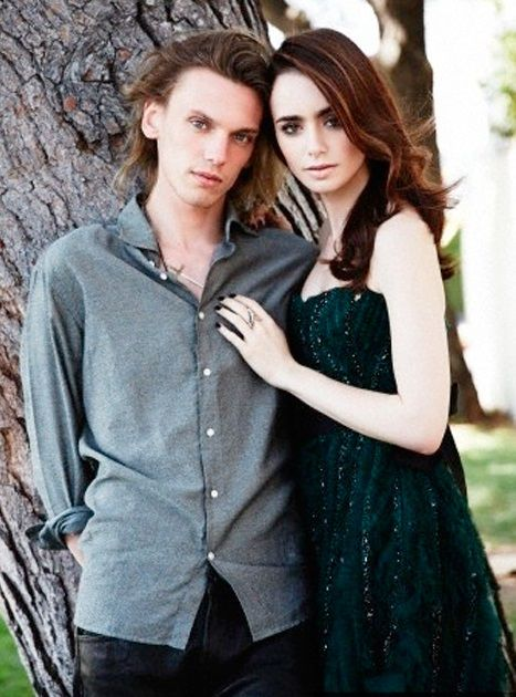Jamie Campbell Bower with ex-girlfriend Lily Collins...