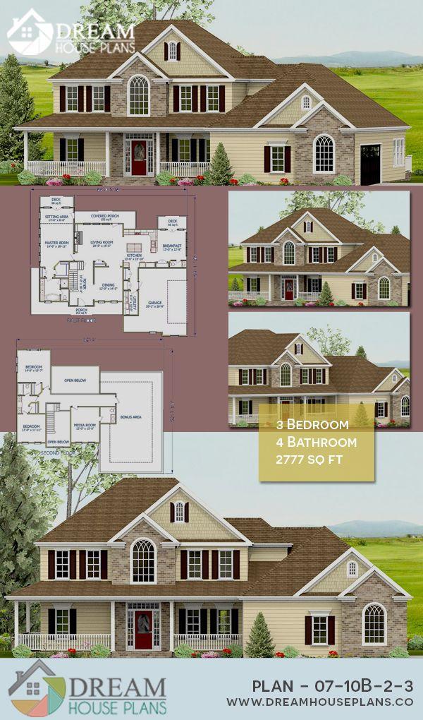Dream House Plans Best Craftsman 3 Bedroom, 2777 Sq Ft Home Plan