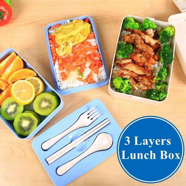 3 Layers Wheat Straw Plastic Lunch Box Microwave Bento Box Home Office Kitchen Food Storage Holder C
