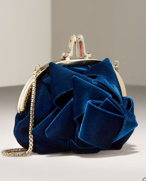 blue: Blue Velvet, Evening Bags, Woman Fashion, Velvet Pur, Fashion Bags, Clutches, Christian Louboutin, Electric Blue, Christianlouboutin