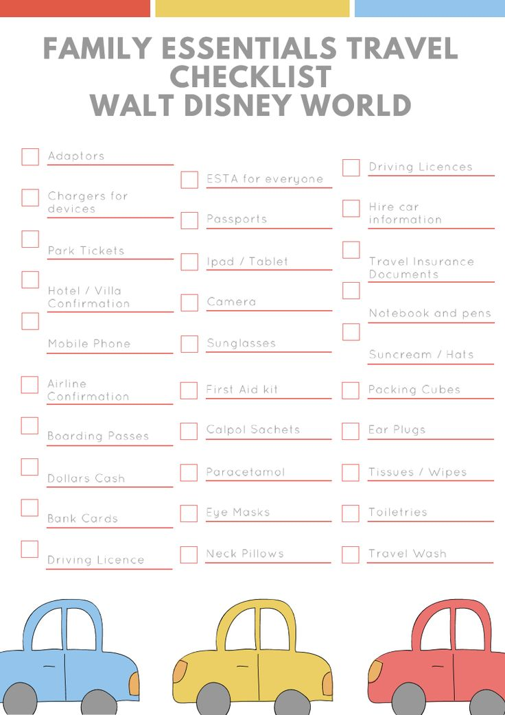 Packing checklist for family travel essentials for a holiday / vacation to Walt Disney world Florida. Get your free handy printable by heading over to my website. There's handy boxes to check off as you pack. Extensive list of everything you will need for the perfect family holiday to Disney world #waltdisneyworld #disneyworld #disney #familytravel #travel #travelblogger #checklist #printable