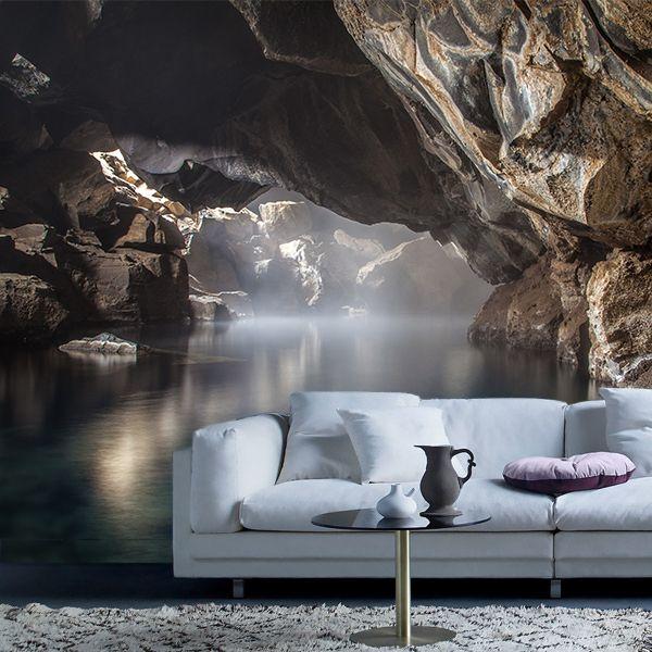 Fotomural Cueva Mývatn, Las cuevas termales de Mývatn en Islandia, una cueva de aguas termales rodeada por la fría y blanca nieve, su agua cristalina y de tono azulado inunda toda la cueva, digna de contemplar por  su espectacular belleza. A tan solo $69.000 el metro cuadrado.