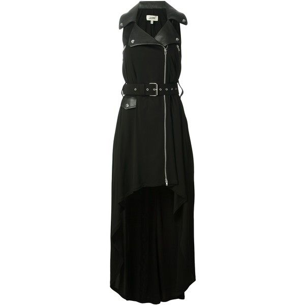 JEAN PAUL GAULTIER biker-style gown ($1,490) ❤ liked on Polyvore featuring dresses, gowns, gown, zip front dress, biker dress, curved hem dress, zipper front dress and pleated gown