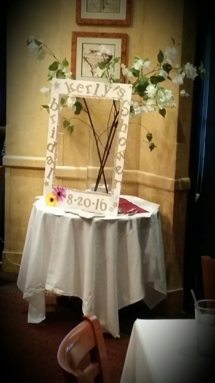 Customized DIY Bridal Shower Frame. This was a big hit with our guest! Guest took pics with the soon-to-be bride.