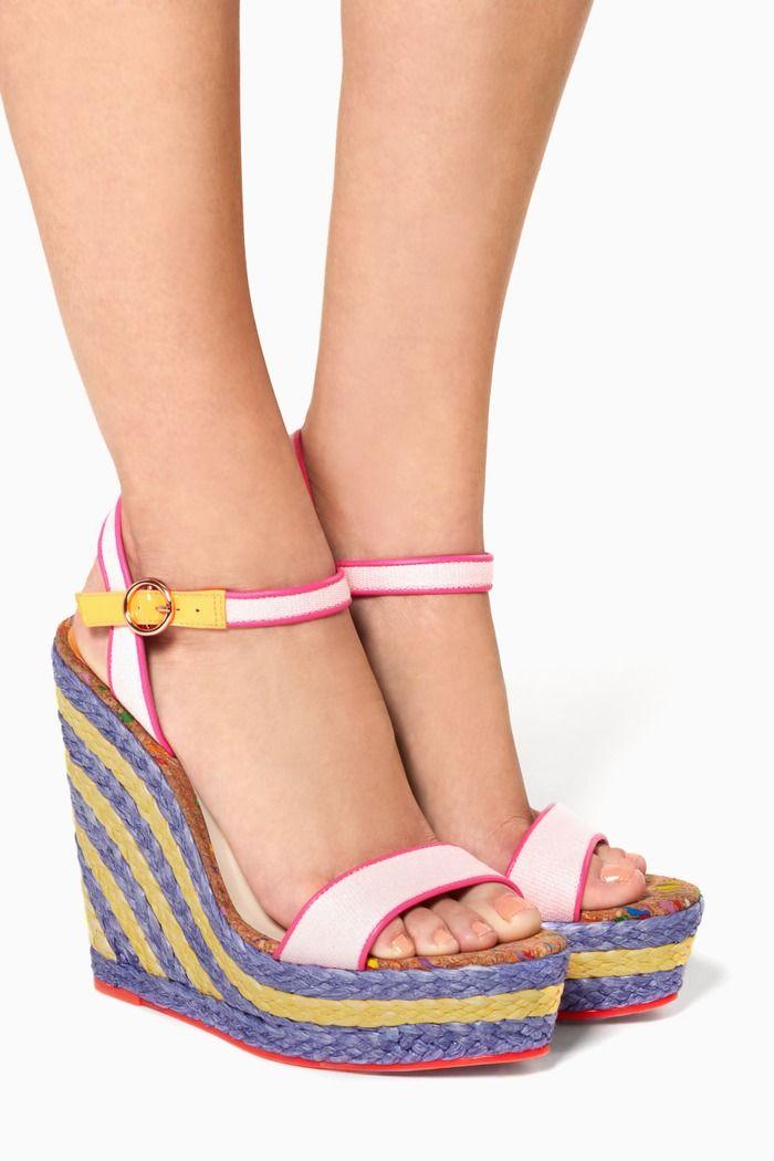 Lucita multi-coloured Canvas Espadrille Wedge Sandals