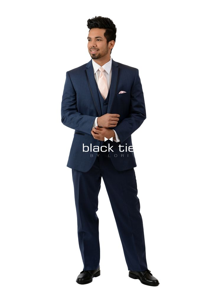 """""""Midnight"""" Online Tuxedo Rental - For a polished look, the """"Midnight"""" tuxedo is a stylish choice. Tailored in 100% worsted wool with a slim fit styling, it's contemporary notched lapels edged in satin add a touch of luxury to this fashion- forward style. Pair with matching flat front, modern slim fit pants and a matching fullback vest for a 3-piece tuxedo look."""
