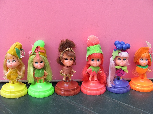 Laffy Lemon, Luscious Lime (missing the pink bow on her dress), Kleo Kola, Shirley Strawberry, Greta Grape, and Olivia Orange.
