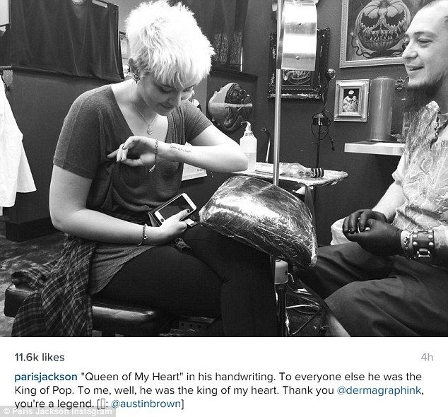 To mark her 18th birthday Paris Jackson got a tattoo tribute dedicated to her late father Michael Jackson